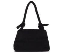 Lady Knotted-strap Cotton-velvet Shoulder Bag