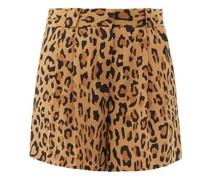 Simba Fell Leopard-print Silk-faille Shorts