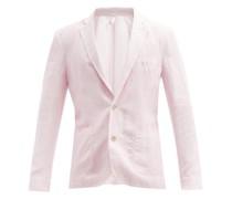 Patch-pocket Linen-calico Suit Jacket