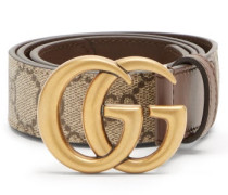 Gg Marmont Supreme And Leather Belt