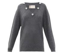 Crystal-embellished V-neck Cashmere-blend Sweater