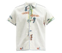 Pagoda Scene Cotton-blend Shirt