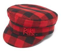 Logo-embroidered Check Felt Baker Boy Cap