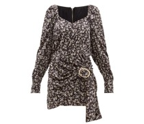 Madonna Floral-print Velvet Mini Dress