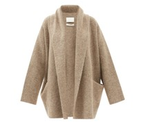 Shawl-lapel Brushed-knit Cardigan