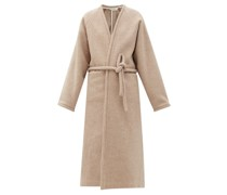 V-neck Wrapped Felted-wool Blend Coat