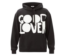 Good Lover-print Cotton-blend Hooded Sweatshirt