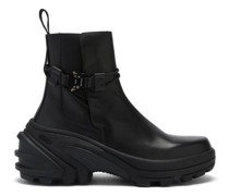 Rollercoaster-buckle Leather And Rubber Boots