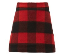 Check Felted Wool-blend Mini Skirt