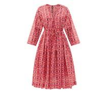 V-neck Geometric-print Cotton-blend Dress