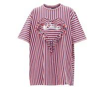 Fringe-trim Striped Boxy-fit T-shirt
