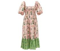 Eloise Shirred Floral-print Cotton-poplin Dress