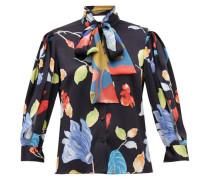 Floral-print Silk-blend Seersucker Blouse