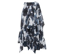 Ruffled Tie-waist Floral-print Cotton Midi Skirt