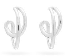 Mini Initial Rhodium-plated Silver Hoop Earrings