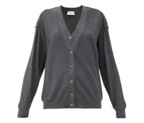 Double-front V-neck Wool-blend Cardigan