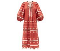 Vitebsk Pussy-bow Linen Midi Dress