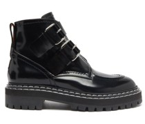 Double-buckled Leather Ankle Boots