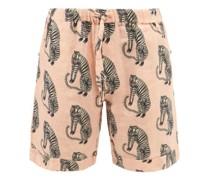 Sansindo Tiger-print Linen Pyjama Shorts