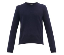 Gg Embroidered Crew Neck Wool-blend Sweater