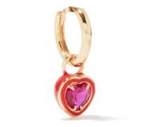 Heart 14kt Gold & Enamel Single Earring