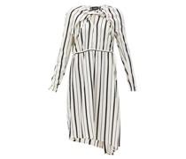 Asymmetric Striped Plissé-crepe Dress