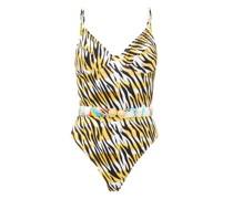Loren Belted Tiger-print Swimsuit