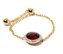 January Diamond, Garnet & 14kt Gold Chain Ring