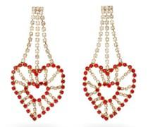 Heart Crystal-embellished Chandelier Earrings