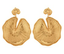 Lily Pad Gold-plated Clip Earrings