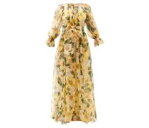 Camellia-print Gathered Silk-organza Gown