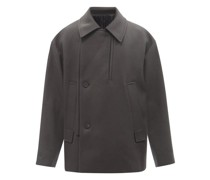 Oversized Double-breasted Wool-blend Jacket