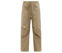 Lap Gathered Cotton Wide-leg Trousers