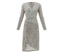 Gathered Floral-print Jersey Wrap Dress