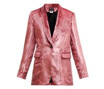 Illume Striped Velvet-lamé Single-breasted Blazer