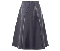 Coated Wool-blend A-line Skirt