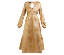 Metallic Tulip-brocade Midi Dress