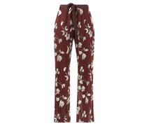 Floral-print Plissé Trousers