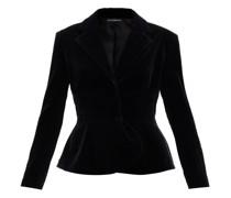 Peplum-hem Cotton-blend Velvet Jacket