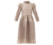 Claire Balloon-sleeve Floral-print Cotton Dress