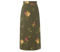 Floral-print Silk-taffeta Skirt