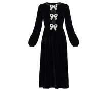Camille Crystal-bow Velvet Midi Dress