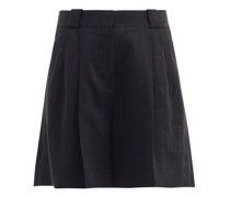 Midday Sun Cassis Pleated Linen Shorts