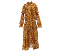 Jocelyn Snake-print Ruffled Devoré Midi Dress