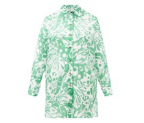 Turtle Coralsand-print Cotton Shirt Cover Up