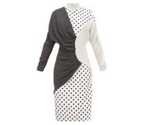 Draped Polka-dot Faille Midi Dress