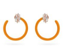 Tendril Crystal, 9kt Rose-gold & Enamel Earrings