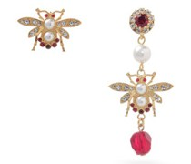 Mismatched Crystal-embellished Bee Earrings