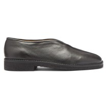 High-cut Grained-leather Loafers