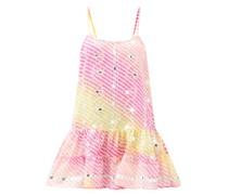 Mirror-work Rainbow-striped Gauze Mini Dress